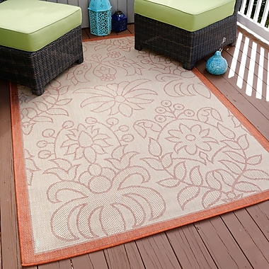 Lavish Home Botanical Garden Indoor/Outdoor Area Rug - Orange- 5'x7'7