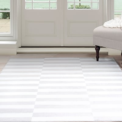 Lavish Home Checkered Stripes Area Rug - 5'x7'7