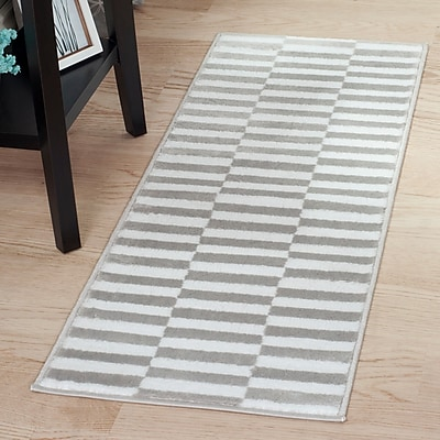 Lavish Home Checkered Stripes Area Rug - 1'8