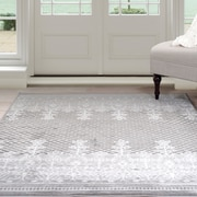 Lavish Home Royal Garden Area Rug - Grey & White - 4'x6' (62-2024A-44-46)