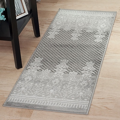 Lavish Home Royal Garden Area Rug - Grey & White - 1'8