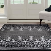 "Lavish Home Royal Garden Area Rug - Black & Grey - 5'x7'7"" (62-2024A-65)"