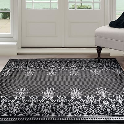 Lavish Home Royal Garden Area Rug - Black & Grey - 3'3