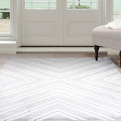 Lavish Home Kaleidoscope Area Rug - Grey & White - 4'x6' (62-2028A-21-46)