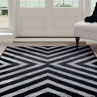 Lavish Home Kaleidoscope Area Rug - Black & Grey - 3'3