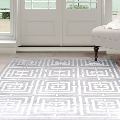 Lavish Home Athens Area Rug - Grey & White - 5'x7'7