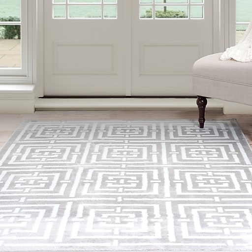 Lavish Home Athens Area Rug 8'x10' - Grey & White (62-2039A-810)