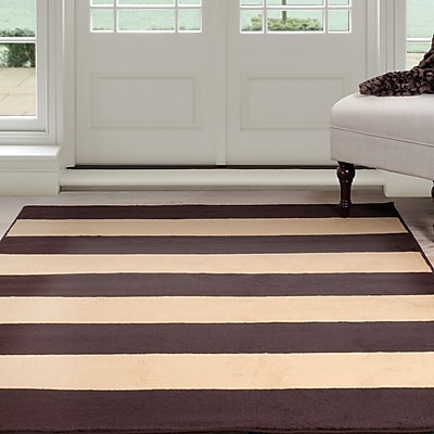Lavish Home Autumn Stripes Area Rug - Brown & Tan - 5'x7'7