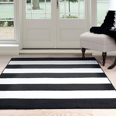 Lavish Home Breton Stripe Area Rug - Black & White - 4'x6' (62-2040A-25-46)