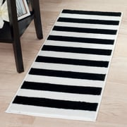 "Lavish Home Breton Stripe Rug - Black & White - 1'8""x5' (62-2040A-25-187)"