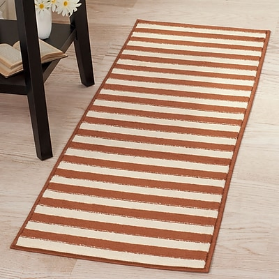 Lavish Home Dark Amber Stripe Rug - Amber & Tan - 1'8