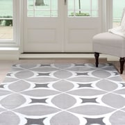 Lavish Home Geometric Area Rug - Grey & White - 4'x6' (62-2176A-46)
