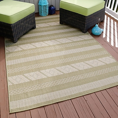 Lavish Home Aztec Stripe Indoor/Outdoor Area Rug - Green - 5'x7'7