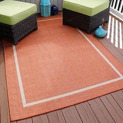 Lavish Home Border Indoor/Outdoor Area Rug - Orange - 5'x7'7