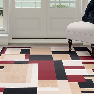 Lavish Home Modern Block Area Rug - Burgundy & Tan - 3'3