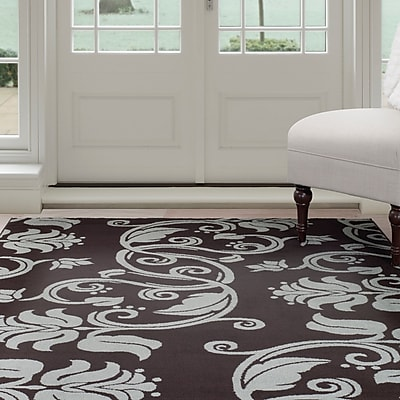 Lavish Home Floral Scroll Area Rug - Brown & Blue - 4'x6' (62-56237BB-46)