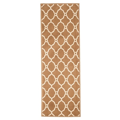 Lavish Home Lattice Area Rug - Dark Beige & Ivory - 1'8