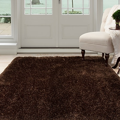 Lavish Home Shag Area Rug - Chocolate - 3'3