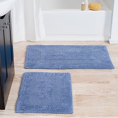 Lavish Home 100% Cotton 2 Piece Reversible Rug Set - Blue (67-0018-B)
