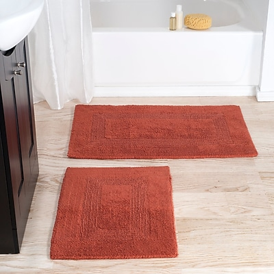 Lavish Home 100% Cotton 2 Piece Reversible Rug Set - Brick (67-0018-BRI)