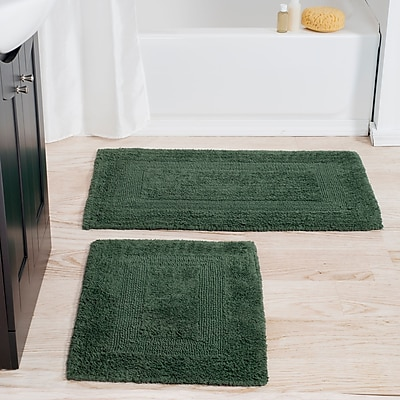 Lavish Home 100% Cotton 2 Piece Reversible Rug Set - Green (67-0018-G)