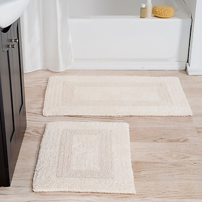 Lavish Home 100% Cotton 2 Piece Reversible Rug Set - Ivory (67-0018-I)