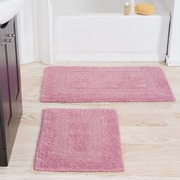 Lavish Home 100% Cotton 2 Piece Reversible Rug Set - Rose (67-0018-R)