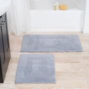 Lavish Home 100% Cotton 2 Piece Reversible Rug Set - Silver (67-0018-S)