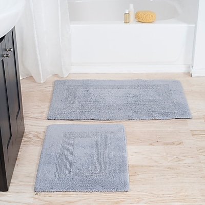 Lavish Home 100% Cotton 2 Piece Reversible Rug Set - Silver (67-0018-S)