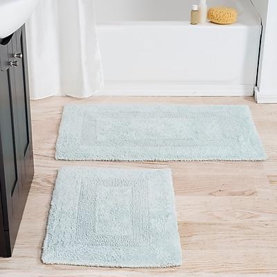 Lavish Home 100% Cotton 2 Piece Reversible Rug Set - Seafoam (67-0018-SF)