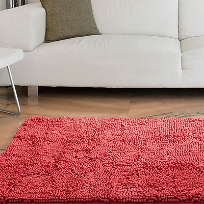Lavish Home High Pile Shag Rug Carpet - Coral- 21
