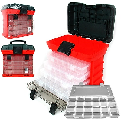 Stalwart Parts & Crafts Rack Style Tool Box with 4 Organizers - Red (75-3182A)