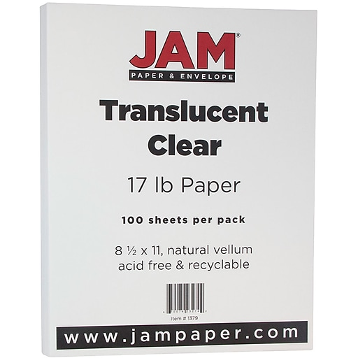 Jam paper translucent vellum paper 85 x 11 17lb clear 100 httpsstaples 3ps7is malvernweather Image collections