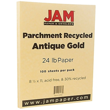 JAM Paper® Parchment Paper, 8.5 x 11, 24lb Antique Gold Yellow Recycled, 100/pack (27160)