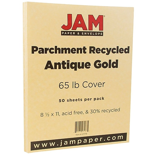 JAM Paper® Parchment 65lb Cardstock, 8.5 x 11 Coverstock, Antique Gold Recycled, 50 Sheets/Pack (27179)