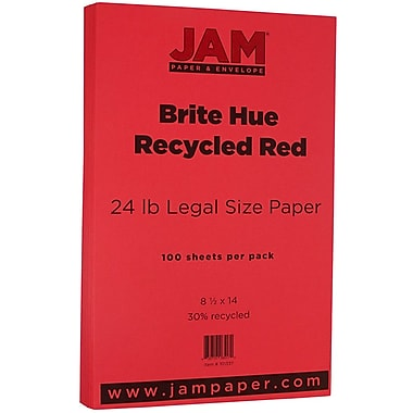 JAM Paper® Bright Color Legal Paper, 8 1/2 x 14, 24lb Brite Hue Red Recycled, 100/pack (101337)