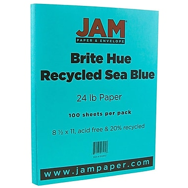 JAM Paper® Bright Color Paper, 8.5 x 11, 24lb Brite Hue Sea Blue Recycled, 100/pack (102657)