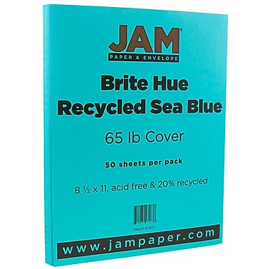 JAM Paper® Bright Color Cardstock, 8.5 x 11, 65lb Sea Blue Recycled, 50/pack (102677)