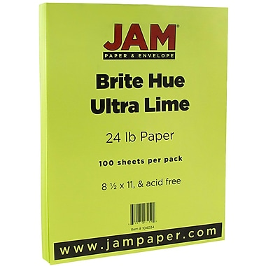 JAM Paper® Bright Color Paper, 8.5 x 11, 24lb Brite Hue Ultra Lime Green, 100/pack (104034)