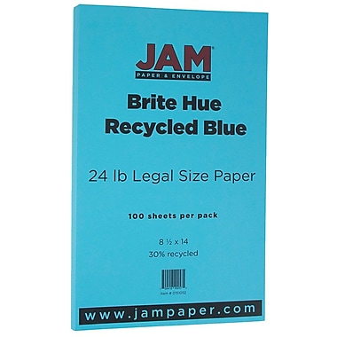 JAM Paper® Bright Color Legal Paper, 8 1/2 x 14, 24lb Brite Hue Blue Recycled, 100/pack (151052)