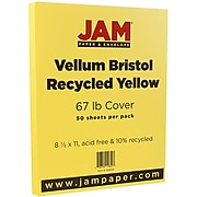 JAM Paper® Vellum Bristol 67lb Colored Cardstock, 8.5 x 11 Coverstock, Yellow, 50 Sheets/Pack (169838)