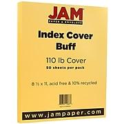 JAM Paper® Vellum Bristol 110lb Index Colored Cardstock, 8.5 x 11 Coverstock, Buff Light Orange, 50 Sheets/Pack (169854)