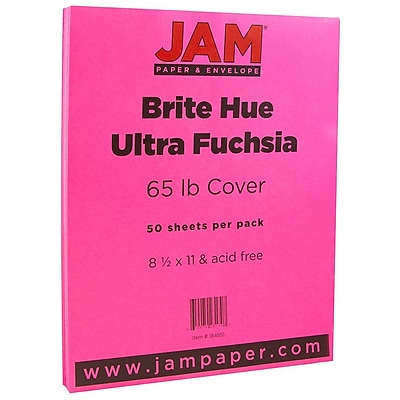 JAM Paper® Bright Color Cardstock, 8.5 x 11, 65lb Ultra Fuchsia Pink, 50/pack (184851)