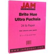"JAM Paper® Bright Color Paper - 8.5"" x 11"" - 24 lb. Brite Hue Ultra Fuchsia Pink - 100/pack"