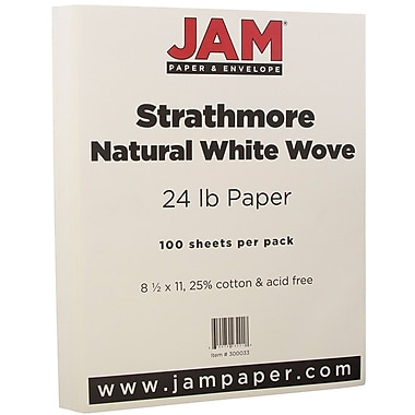JAM Paper® Strathmore Paper, 8.5 x 11, 24lb Natural White Wove, 100/pack (300033)