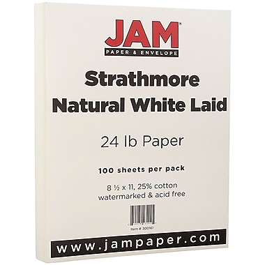 JAM Paper® Strathmore Paper, 8.5 x 11, 24lb Natural White Laid, 100/pack (300161)