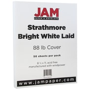 JAM Paper® Strathmore Cardstock, 8.5 x 11, 88lb Bright White Laid, 50/pack (301005)