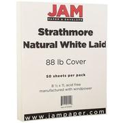 JAM Paper® Strathmore Cardstock, 8.5 x 11, 88lb Natural White Laid 50/pack (301015)
