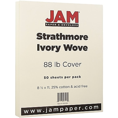 JAM Paper® Strathmore Cardstock, 8.5 x 11, 80lb Ivory Wove, 50/pack (301125)
