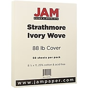 JAM Paper® Strathmore 88lb Cardstock, 8.5 x 11 Coverstock, Ivory Wove, 50 Sheets/Pack (301125)